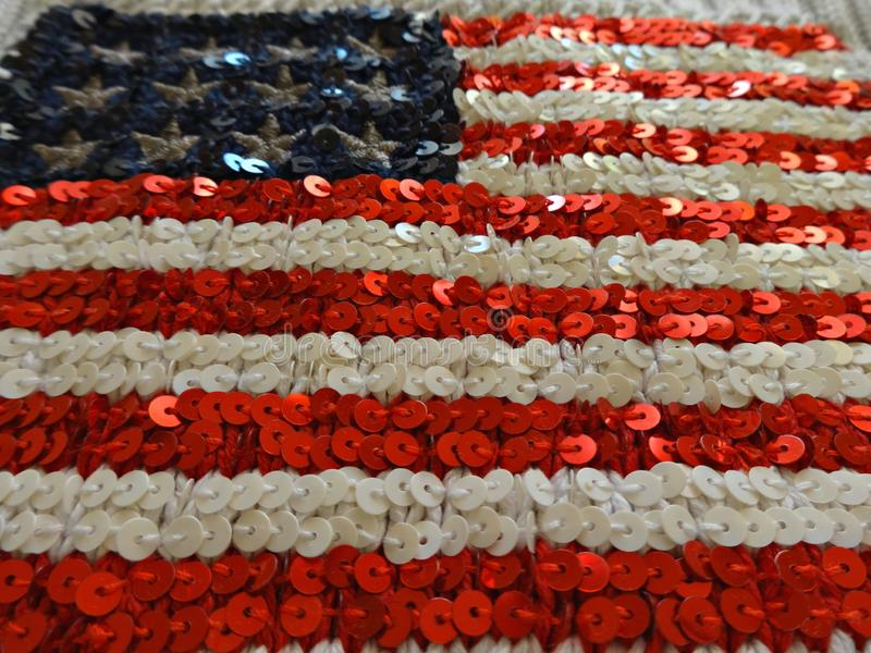 American flag embroidered with sequins stock photos