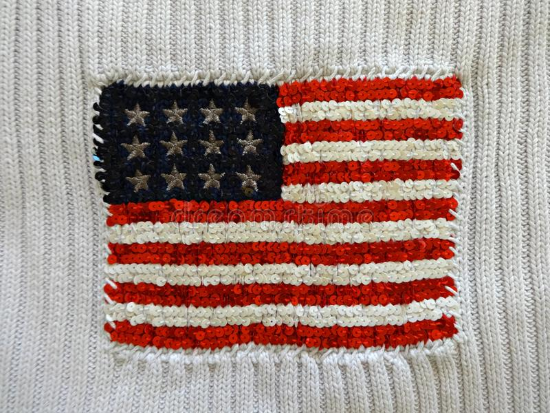 American flag embroidered with sequins stock images