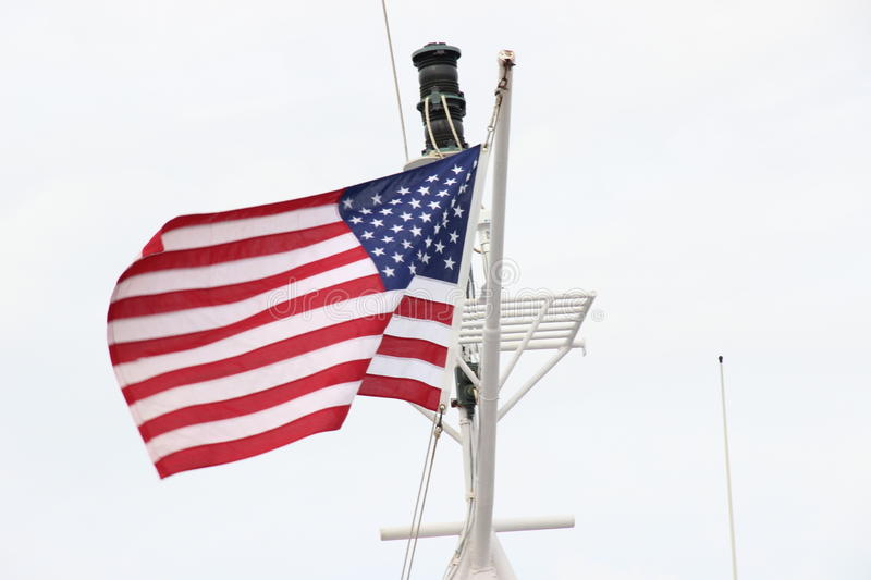 American flag. From ferry New York city stock photo