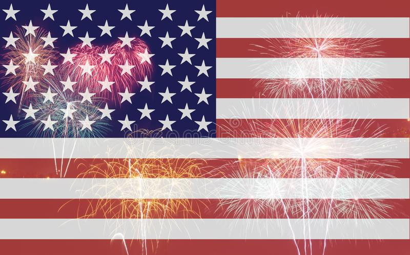 American flag with firework. On background royalty free stock images
