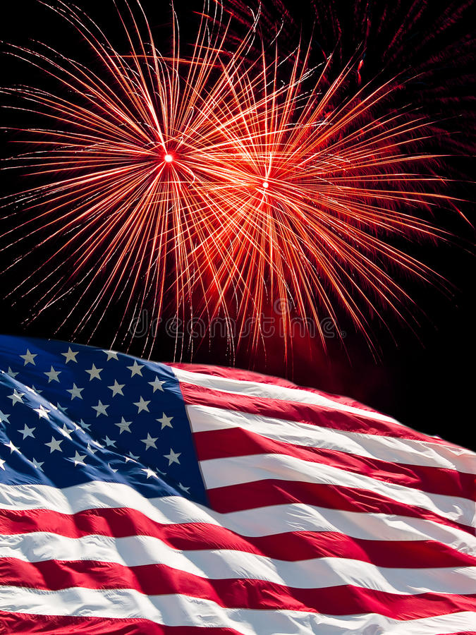 The American Flag and Fireworks royalty free stock photos