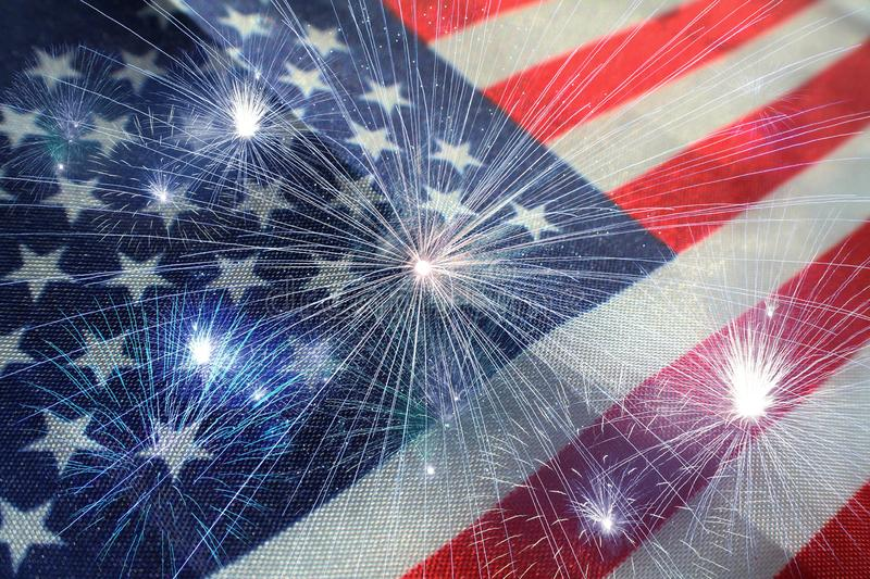 American Flag With Fireworks stock image