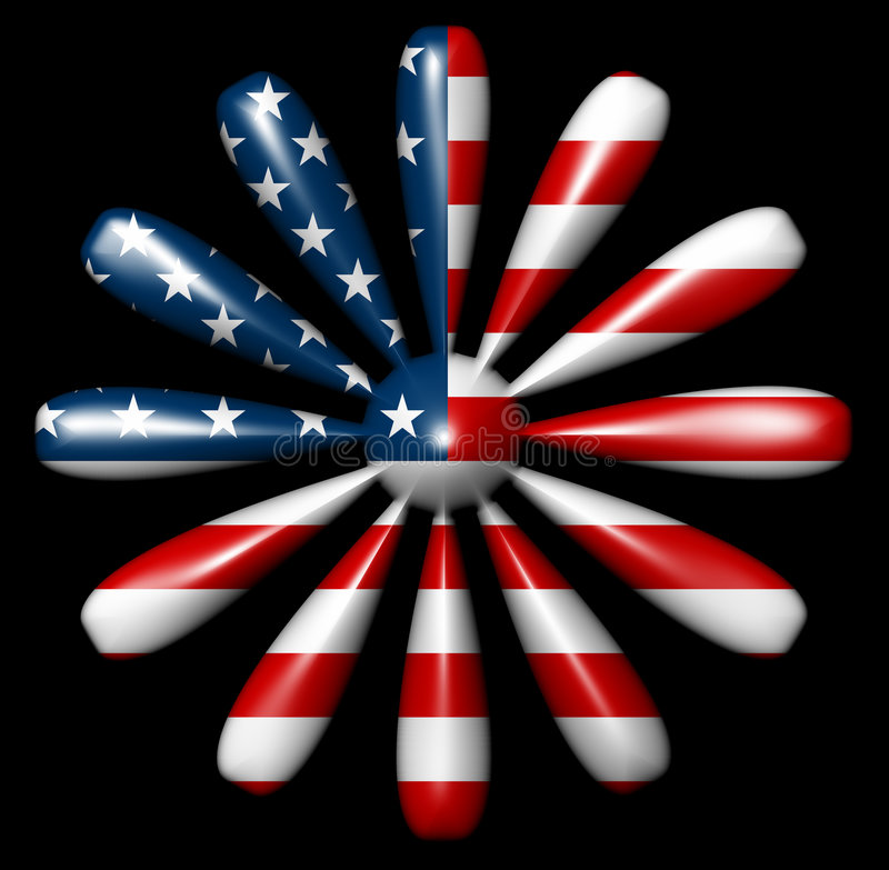 American Flag Flower 12 sides vector illustration