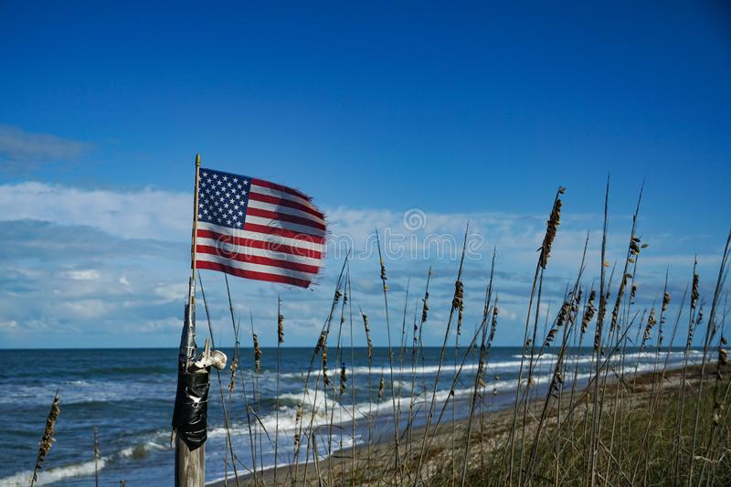 American Flag flying at the beach stock photos