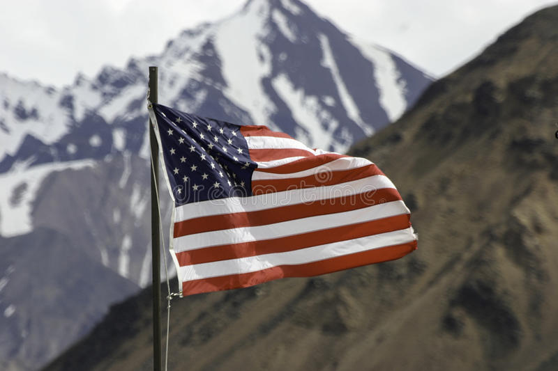 American Flag. An American flag flying in Denali National Park royalty free stock images