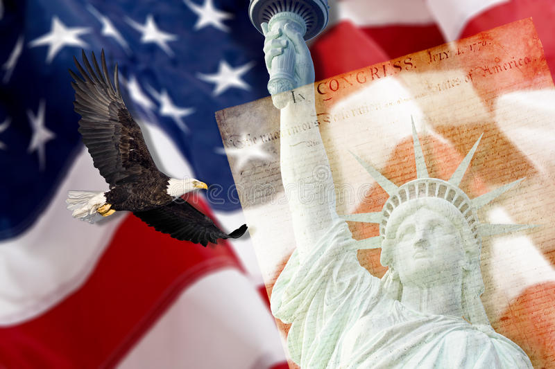 American Flag, flying Eagle, liberty, Constitution. American Flag, flying bald Eagle,statue of liberty and Constitution montage royalty free stock photo
