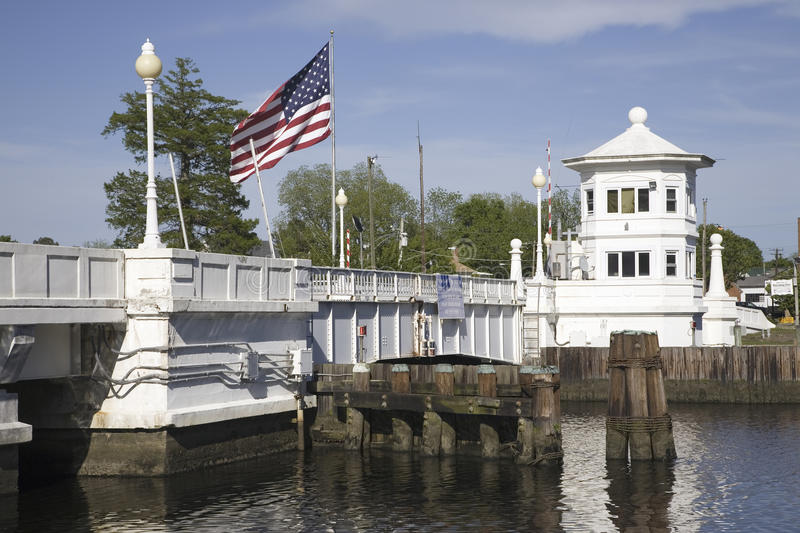 Download American Flag Flying Over White Bridge Editorial Stock Image - Image of shore, maryland: 27071299