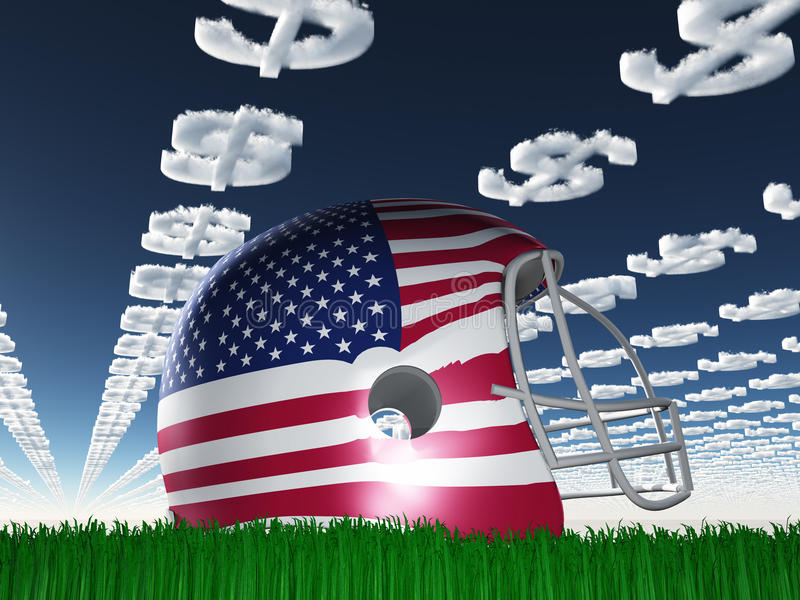 Download American FLag Football Helmet With Dollar Symbol Clouds Stock Photos - Image: 28115713