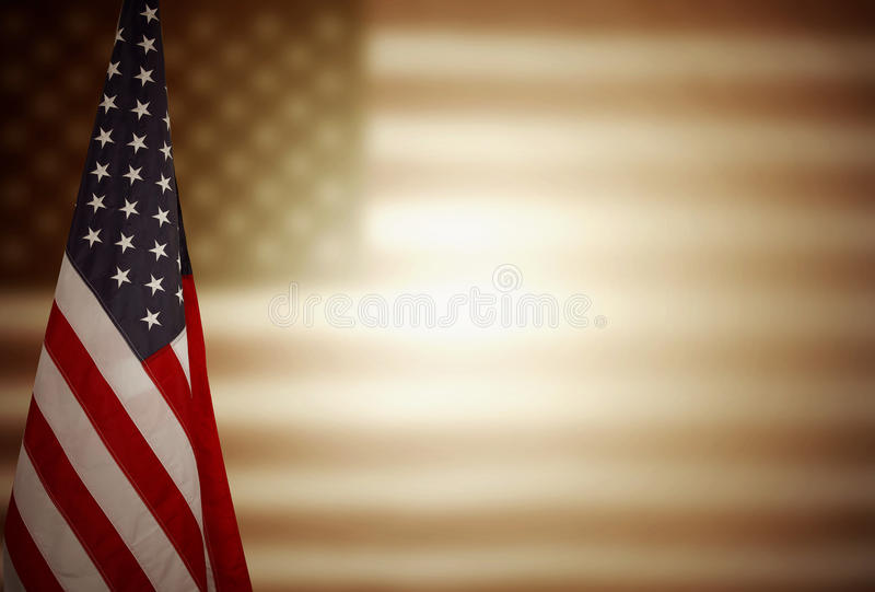 American flag. In front of blurred flag royalty free stock photos