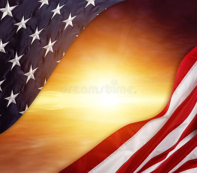 American flag. In front of bright sky royalty free stock image