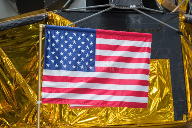 20190906 American Flag Moon Landing. American flag in front of moon landing exhibit royalty free stock photos