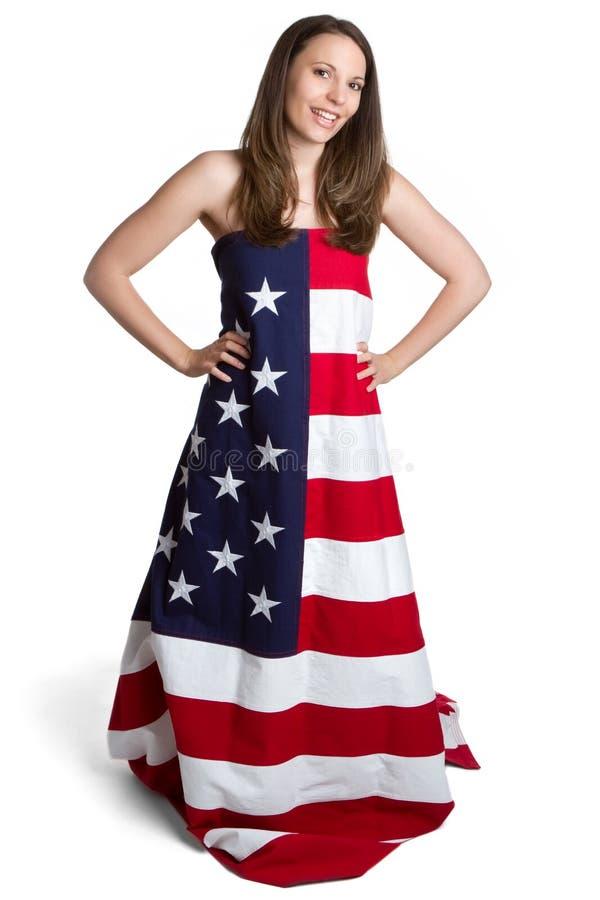 American Flag Girl. Girl wearing american flag dress stock photography