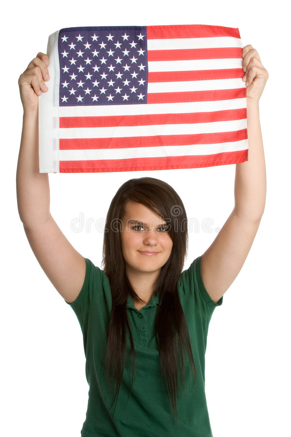 American Flag Girl stock image