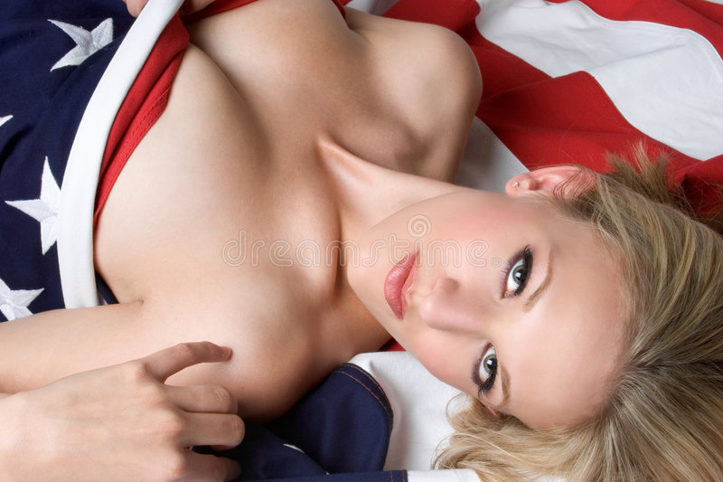 American Flag Girl. Beautiful american flag girl stock photo