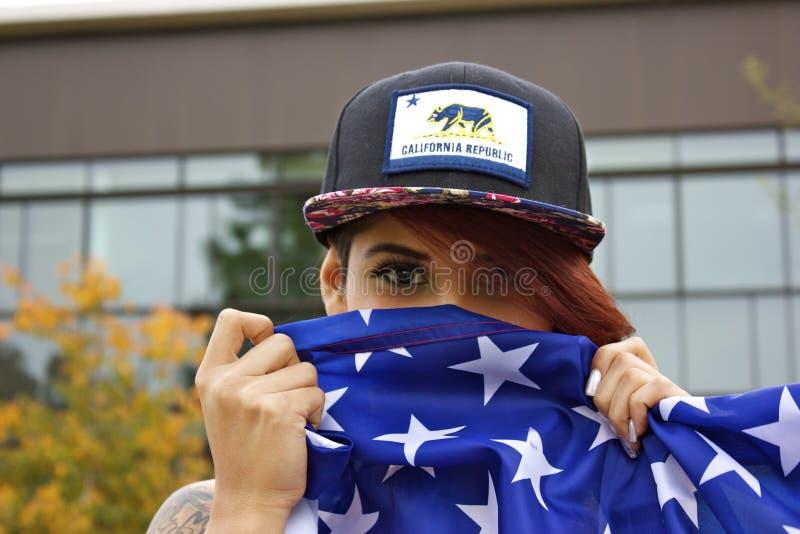 American flag girl stock photo