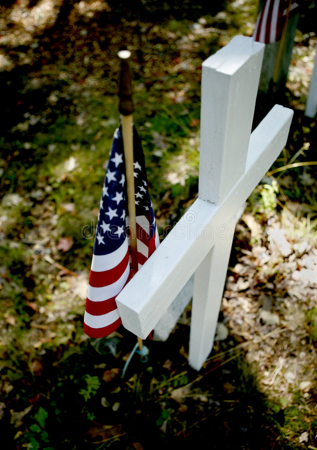 American Flag On Grave Royalty Free Stock Photo