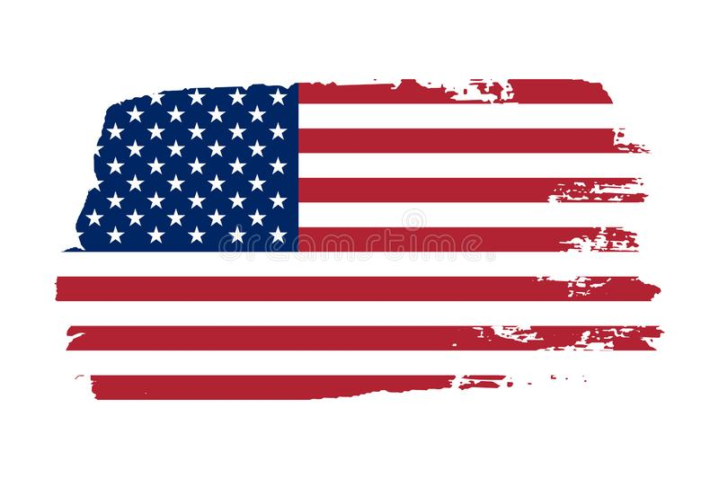 American flag. Grunge old flag USA isolated white background. Distressed retro texture. Vintage grungy dirty design stock illustration