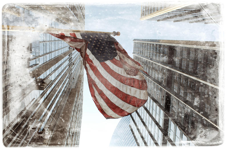 American flag. In grunge style royalty free stock photo