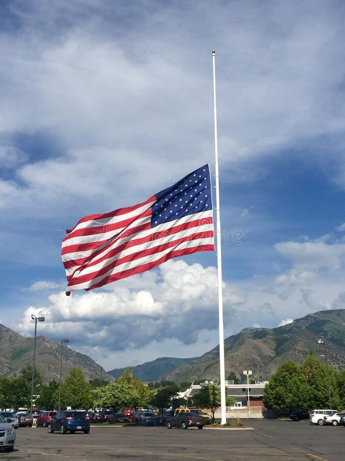 American Flag at Half Staff stock photography