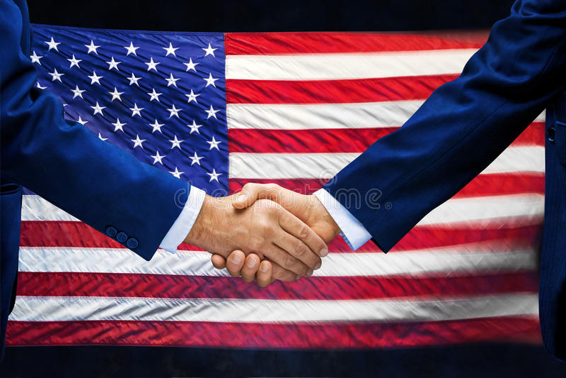 American Flag Handshake Business royalty free stock photo