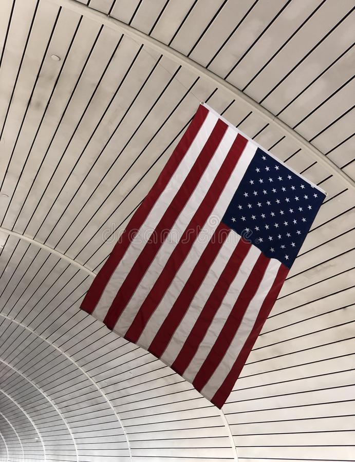 American flag. Hanging from the ceiling stock image