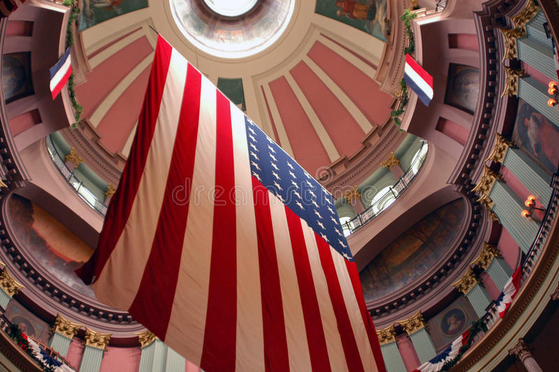 American Flag. Hanging in the rotunda of the old courthouse, St Louis royalty free stock image