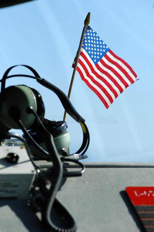 American flag and headphones. On fire engine dashboard royalty free stock images