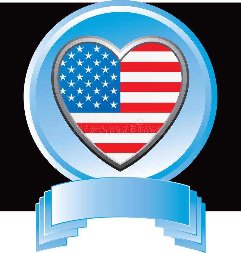 Download American Flag Heart In Blue Display Stock Vector - Illustration of blue, flag: 11924245
