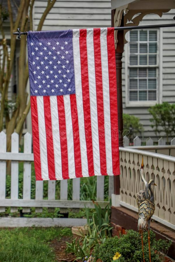 American flag in historic district stock photography