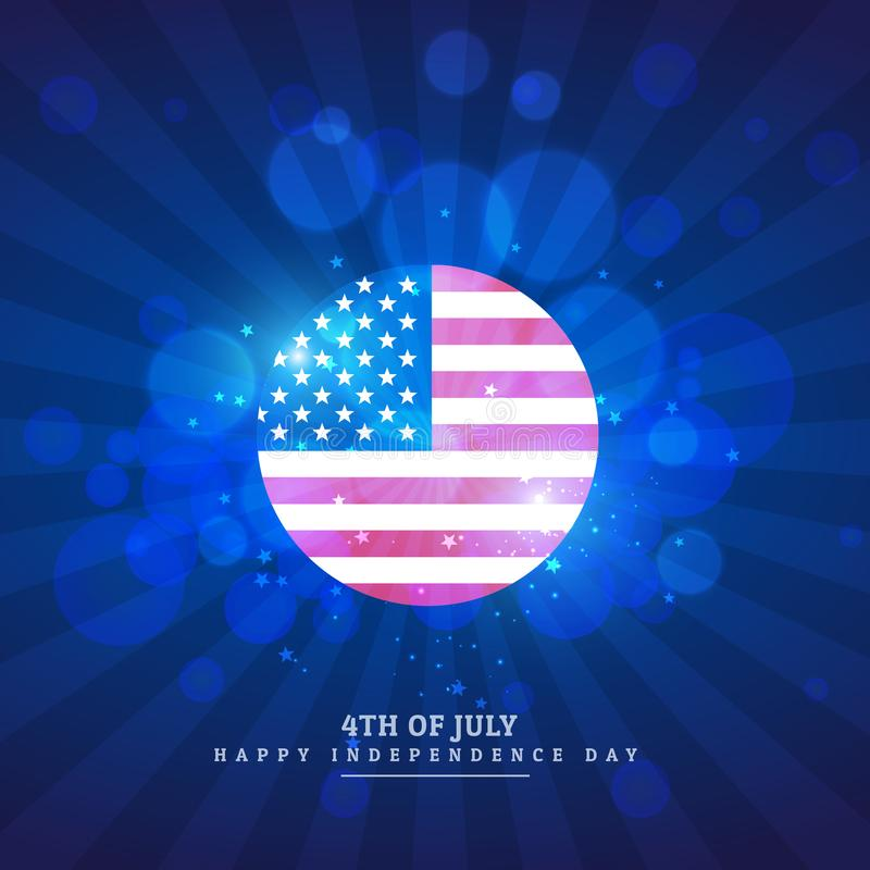 American flag icon in blue background stock illustration