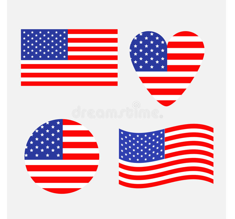 American flag icon set. Waving, round, heart shape. Happy Independence day sign symbol. Isolated. Whte background. Flat design ele vector illustration