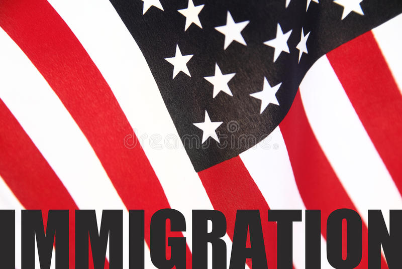 American Flag With Immigration Word Stock Image Image Of Stripes