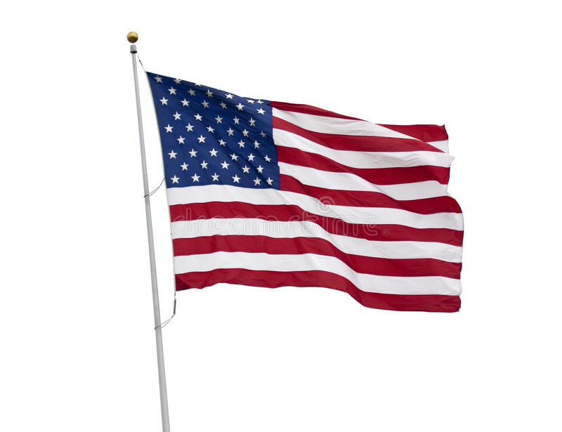 American flag isolated on white with clipping path stock photography