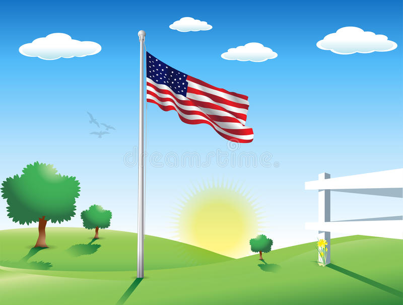 American Flag in July vector illustration