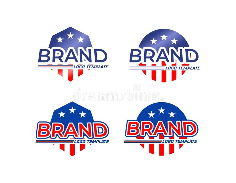 American flag logo templates. A set of illustrated American flag logo templates on a white background vector illustration