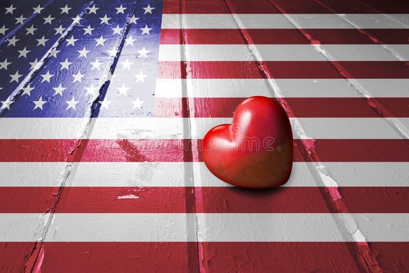 American Flag Love Heart stock photography
