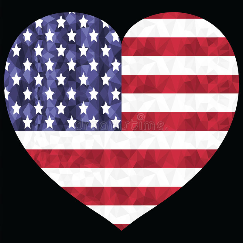 American flag in low poly art design with in the hearts shape symbol of 4th of July American Independence day celebration royalty free illustration