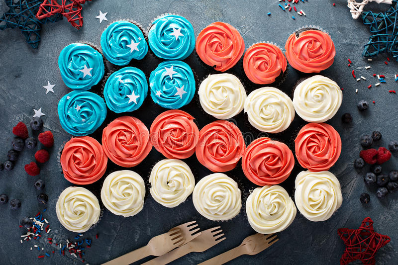 American flag made of cupcakes royalty free stock photography