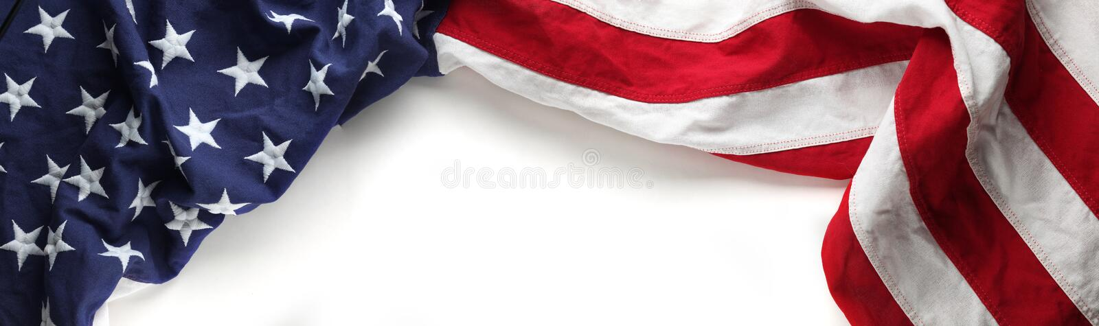 American flag for Memorial day or Veteran`s day background. Red, white, and blue American flag for Memorial day or Veteran`s day background stock photo