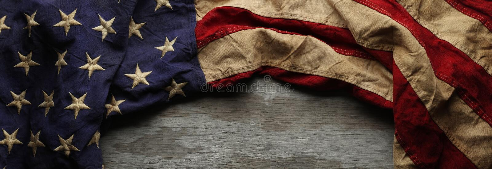 American flag for Memorial day or Veteran`s day background. Vintage red, white, and blue American flag for Memorial day or Veteran`s day background stock photos
