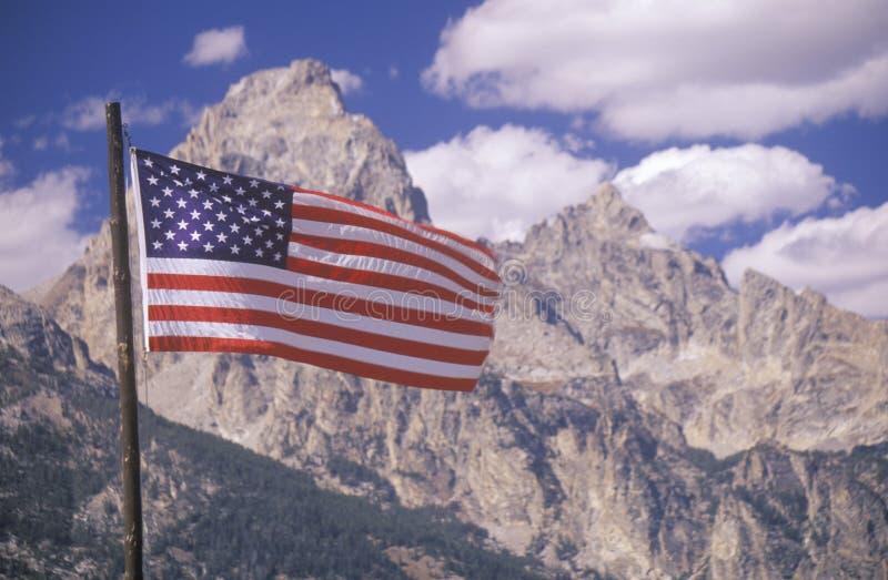 American Flag with Mountains, Grand Teton National Park, Wyoming royalty free stock photos