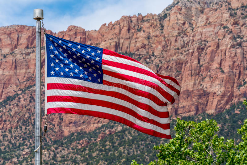 American Flag in National Park, USA. stock image