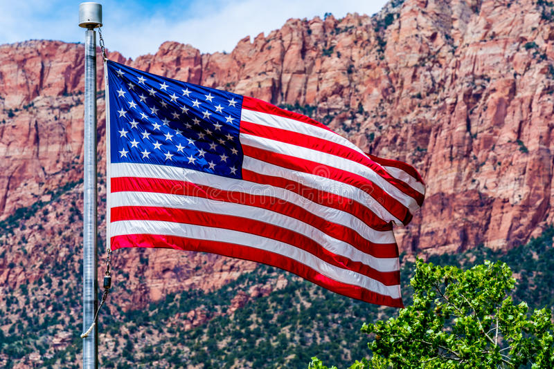 American Flag in National Park, USA. royalty free stock images