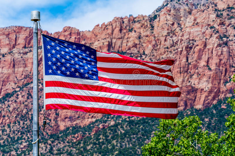 American Flag in National Park, USA. royalty free stock photography