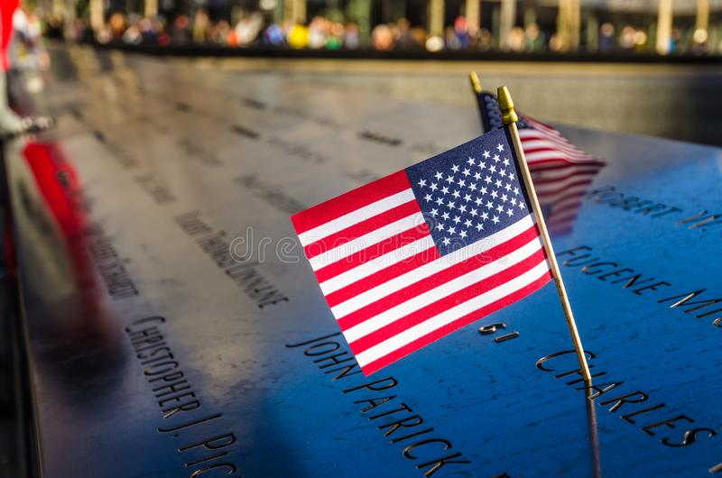American flag at the National September 11 Memorial, New York royalty free stock photos