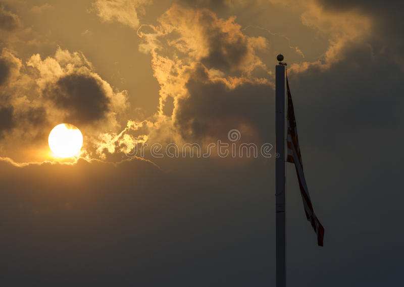 American flag with no wind stock images