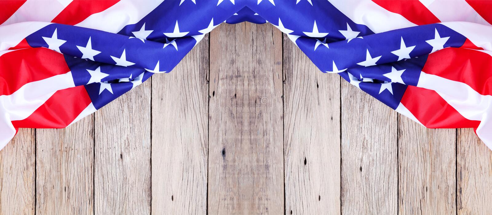 American flag on old wood background for add text Memorial Day o stock photos