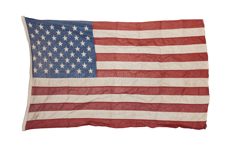 American flag old and worn. Weathered american flag isolated on white background stock images