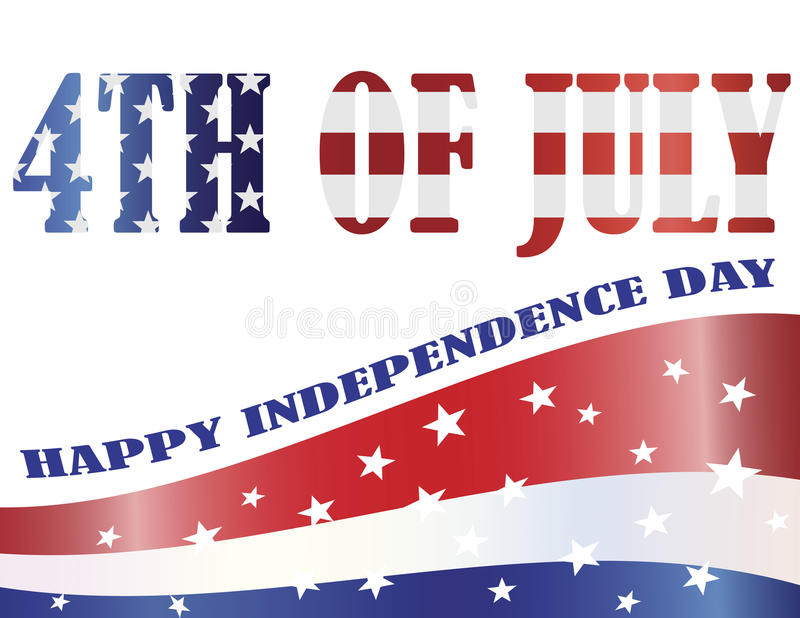 American Flag Outlined in 4th of July Illustration. American Flag Outlined in 4th of July Silhouette with Happy Independence Day Text Illustration royalty free illustration