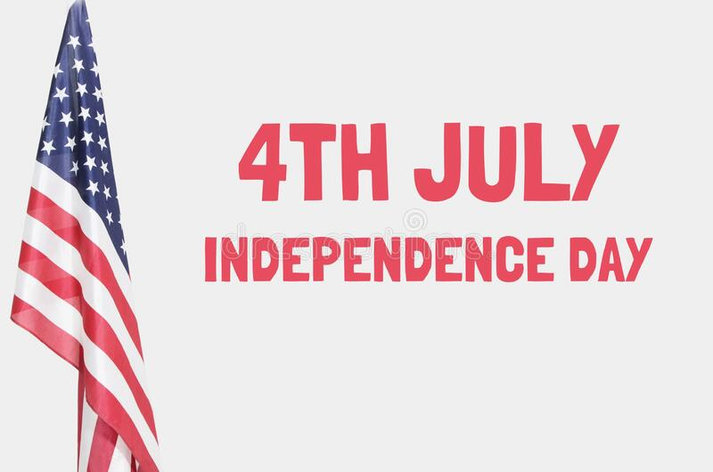 American flag over gray background with 4th july text royalty free stock photos